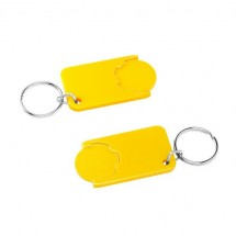 Winkelwagenmuntje 1-Euro in houder - geel/geel