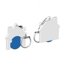 Winkelwagenmuntje 1-Euro in houder huis - blauw/wit