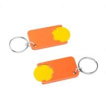 Winkelwagenmuntje 1-Euro in houder - geel/oranje