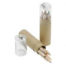 Koker kleurpotloodjes - beige/transparant