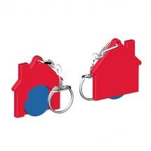 Winkelwagenmuntje 1-Euro in houder huis - blauw/rood