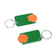 Winkelwagenmuntje 1-Euro in houder - oranje/groen