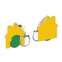 Winkelwagenmuntje 1-Euro in houder huis - groen/geel