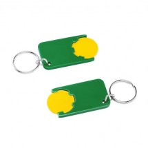 Winkelwagenmuntje 1-Euro in houder - geel/groen