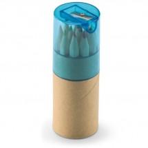 12 Kleurpotloden in koker LAMBUT - transparant blauw