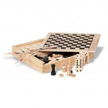 4 Spelletjes in houten doos TRIKES - houtkleur