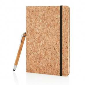 A5 kurken notitieboek incl. touchscreen pen, bruin