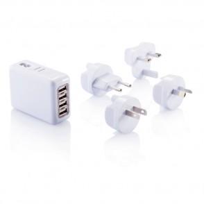 Reisstekker met 4 USB poorten, wit